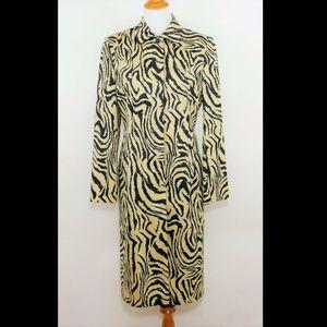 CARLISLE Black & tan animal print trench coat